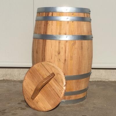 Kastanje houten portvat van 50 liter met los deksel, geolied
