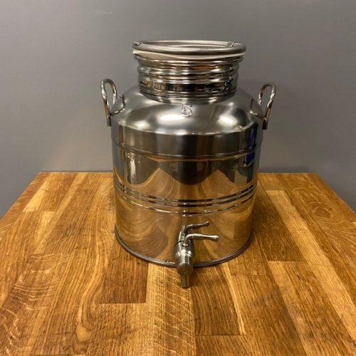 Olijfolievat RVS 18/10 van 5 liter met kraan